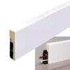 Stijlplint met kabelgoot 18 x 80 mm, Blok, wit folie   Staaf 2,4 meter